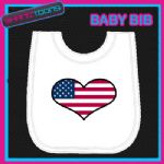 USA UNITED STATES HEART FLAG I LOVE WHITE BABY BIB EMBROIDERED